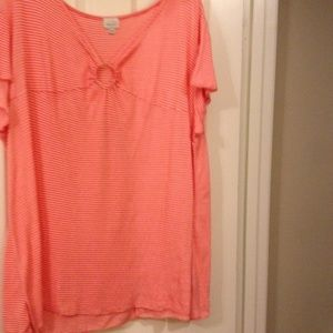 22/24 AVENUE Coral Stripe top Swim Cover-Up